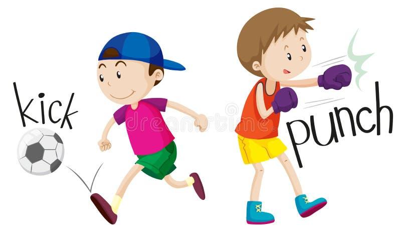 Σφαίρα και punching λακτίσματος αγοριών απεικόνιση αποθεμάτων