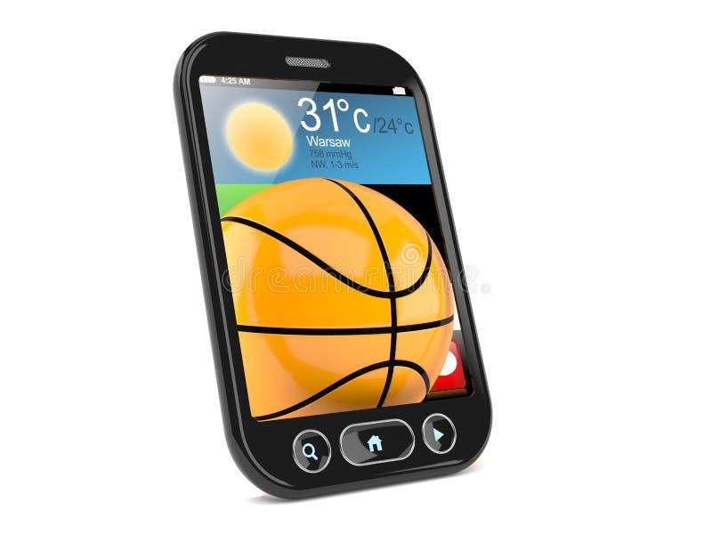 Σφαίρα καλαθοσφαίρισης μέσα στο smartphone ελεύθερη απεικόνιση δικαιώματος