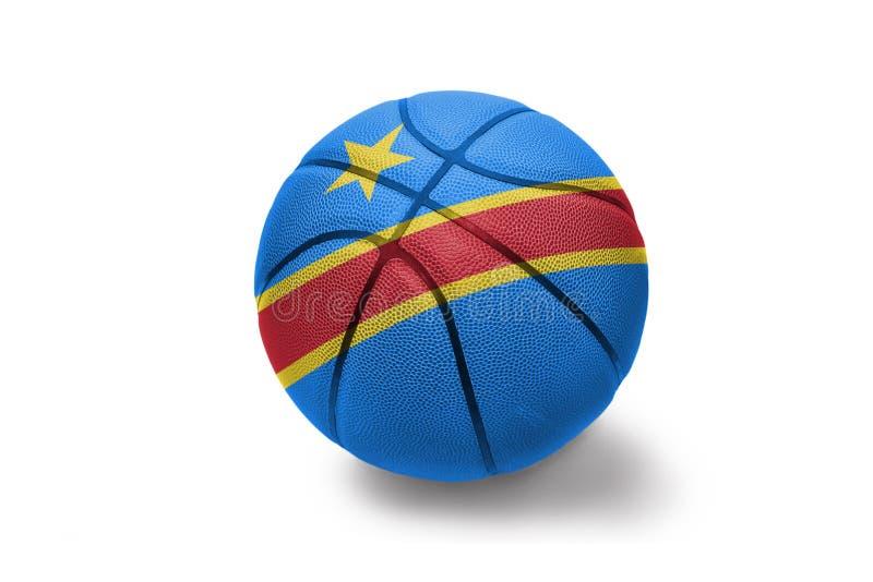 Σφαίρα καλαθοσφαίρισης με τη εθνική σημαία της λαϊκής δημοκρατίας του Κογκό στο άσπρο υπόβαθρο ελεύθερη απεικόνιση δικαιώματος