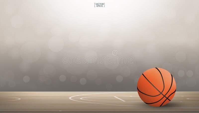 Σφαίρα καλαθοσφαίρισης στην περιοχή γήπεδο μπάσκετ με θολωμένο το φως bokeh υπόβαθρο ελεύθερη απεικόνιση δικαιώματος