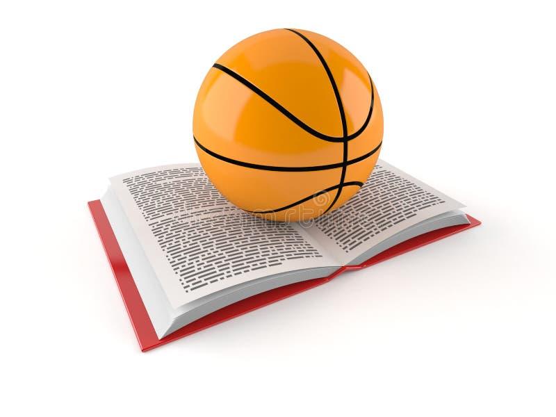 Σφαίρα καλαθοσφαίρισης στο ανοικτό βιβλίο απεικόνιση αποθεμάτων