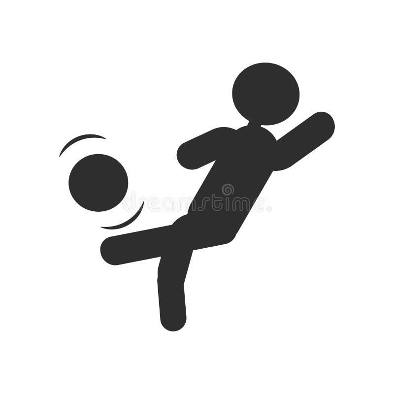 Σφαίρα λακτίσματος προσώπων με το διανυσματικά σημάδι και το σύμβολο εικονιδίων γονάτων που απομονώνονται στο άσπρο υπόβαθρο, σφα ελεύθερη απεικόνιση δικαιώματος