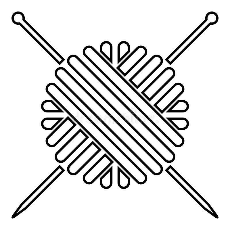 Σφαίρα μαλλιού νημάτων και πλεξίματος βελόνων εικονιδίων της μαύρης απλής εικόνας ύφους έγχρωμης εικονογράφησης επίπεδης απεικόνιση αποθεμάτων