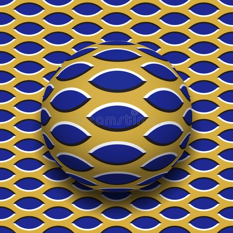 Σφαίρα με ένα δειγμένο σχέδιο ελλείψεων που κυλά κατά μήκος της δειγμένης επιφάνειας ελλείψεων Αφηρημένη διανυσματική οπτική παρα διανυσματική απεικόνιση
