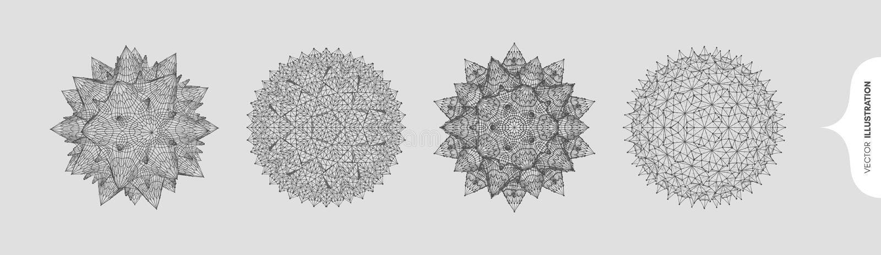 Σφαίρα με συνδεδεμένες γραμμές και κουκκίδες Αφηρημένο μοριακό πλέγμα Κρύσταλλο απεικόνιση 3d διανύσματος για χημεία, βιολογία, ι απεικόνιση αποθεμάτων