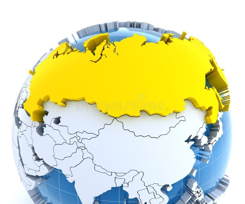 Σφαίρα με τις εξωθημένες ηπείρους, κινηματογράφηση σε πρώτο πλάνο στη Ρωσία ελεύθερη απεικόνιση δικαιώματος