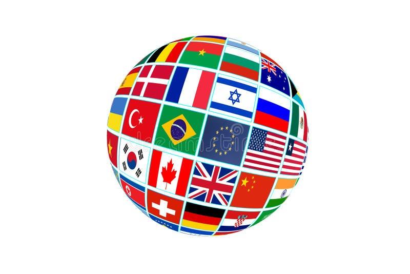 Σφαίρα με τις παγκόσμιες σημαίες που απομονώνονται στο άσπρο υπόβαθρο απεικόνιση αποθεμάτων
