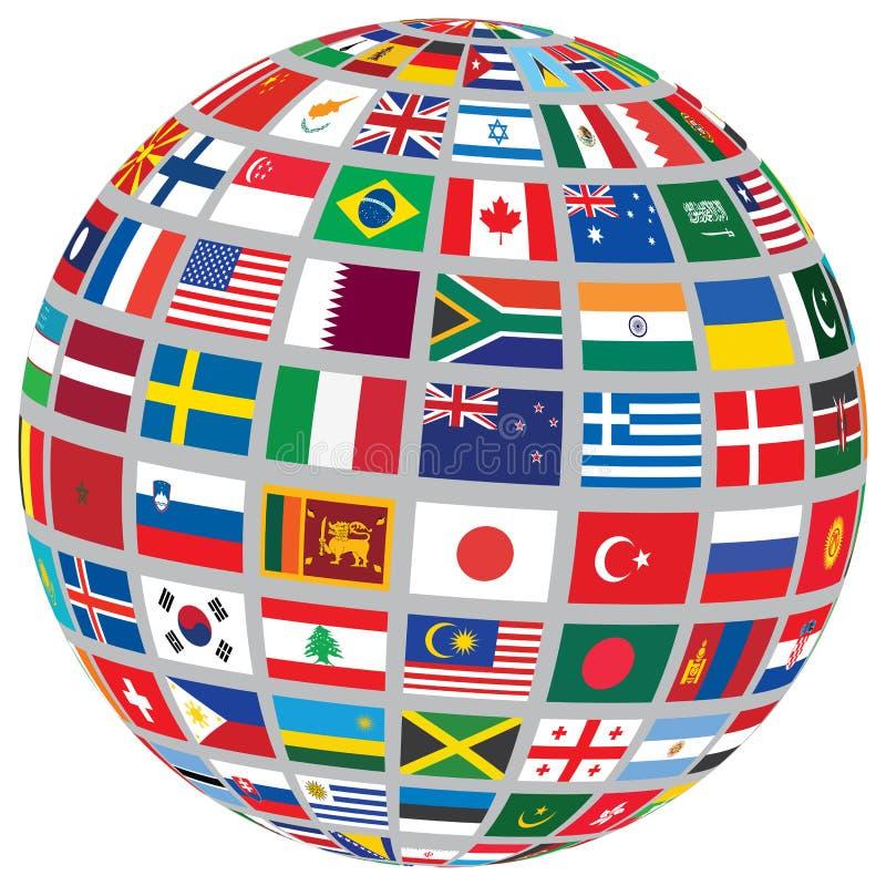 Σφαίρα με τις παγκόσμιες σημαίες διανυσματική απεικόνιση