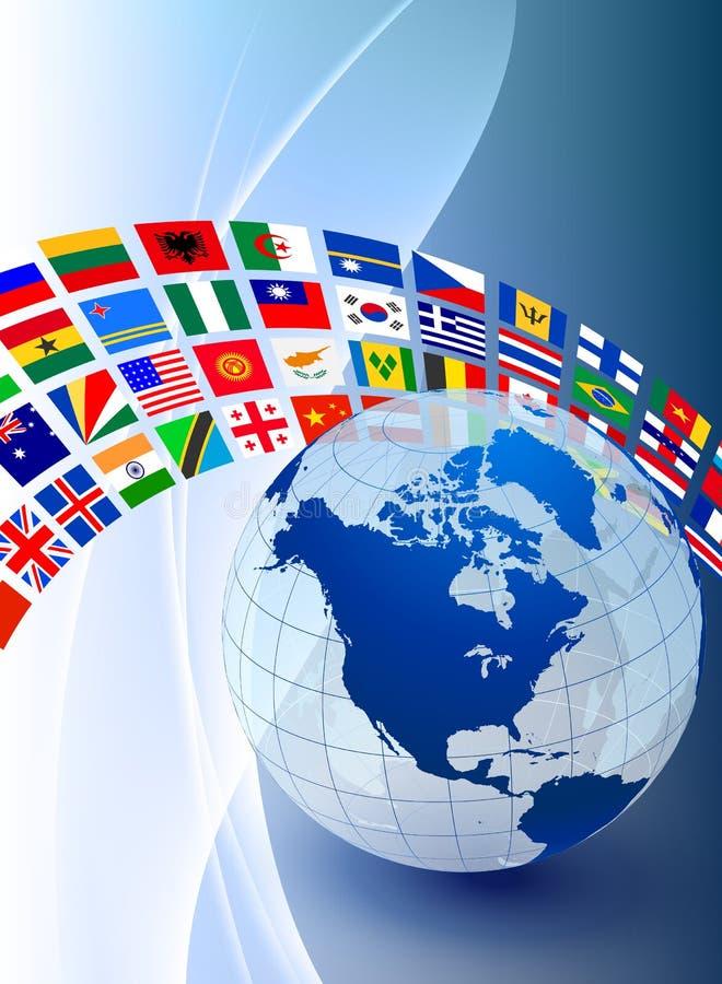 Σφαίρα με το έμβλημα σημαιών στο αφηρημένο υπόβαθρο χρώματος ελεύθερη απεικόνιση δικαιώματος