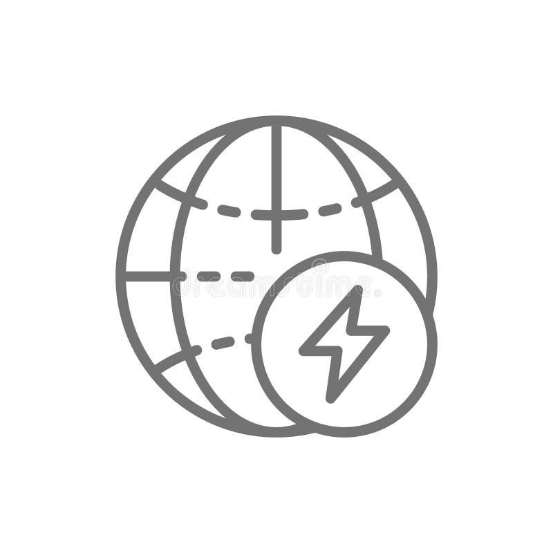 Σφαίρα με το ενεργειακό σημάδι, εικονίδιο γραμμών γήινης ενέργειας διανυσματική απεικόνιση