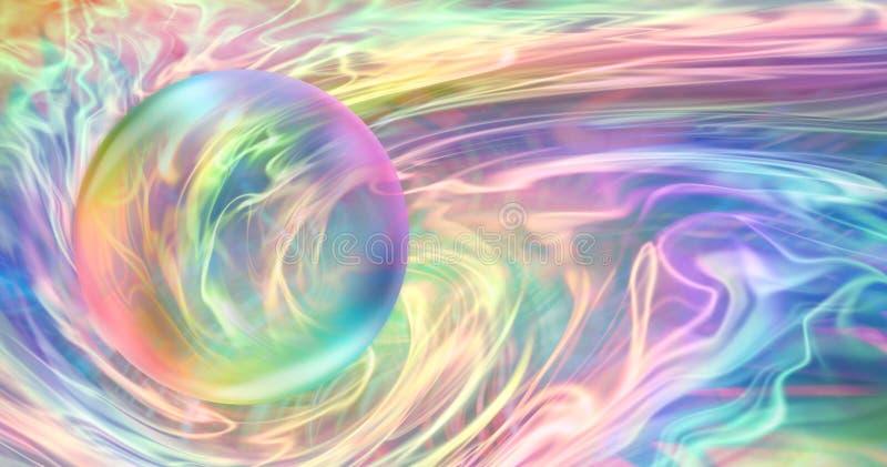 Σφαίρα ουράνιων τόξων και ρέοντας ενέργεια ουράνιων τόξων απεικόνιση αποθεμάτων