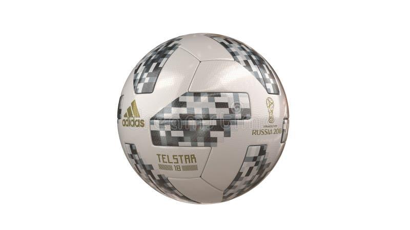 Σφαίρα Παγκόσμιου Κυπέλλου 2018 της FIFA με όλα τα λογότυπα στοκ εικόνες με δικαίωμα ελεύθερης χρήσης
