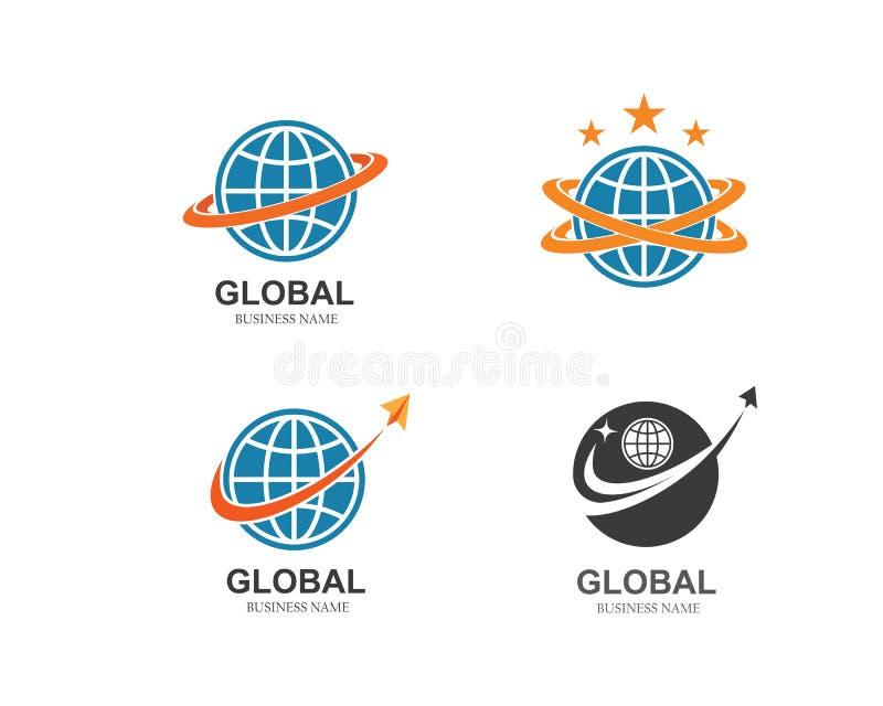 σφαίρα, παγκόσμιο επιχειρηματικό πεδίο, συνδεδεμένο δίκτυο εικονίδιο λογότυπων διανυσματική απεικόνιση