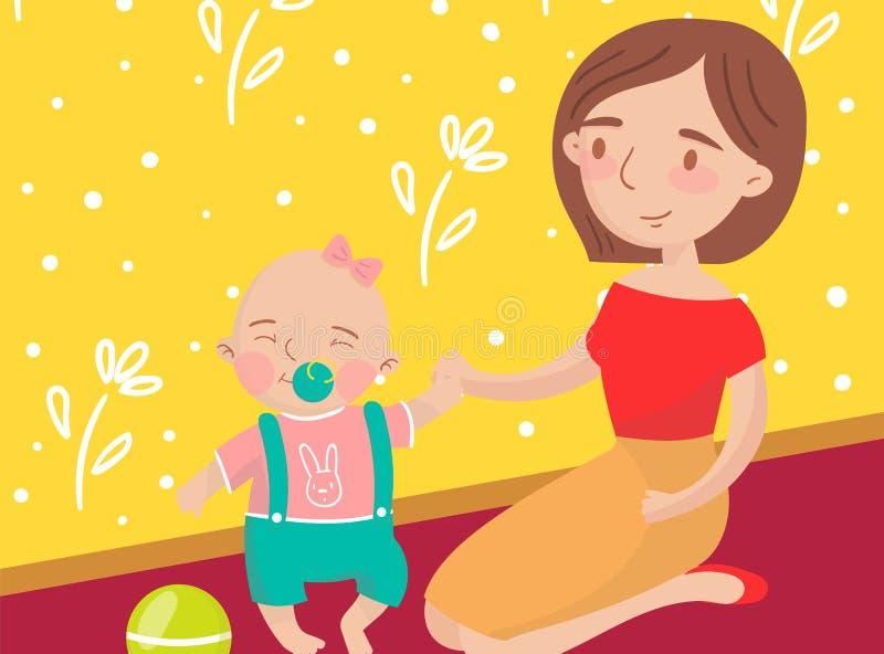 Σφαίρα παιχνιδιού Mom με την λίγη φωτογραφία γιων μωρών, καλύτερες στιγμές στις εικόνες, πορτρέτο του διανύσματος οικογενειακών μ απεικόνιση αποθεμάτων