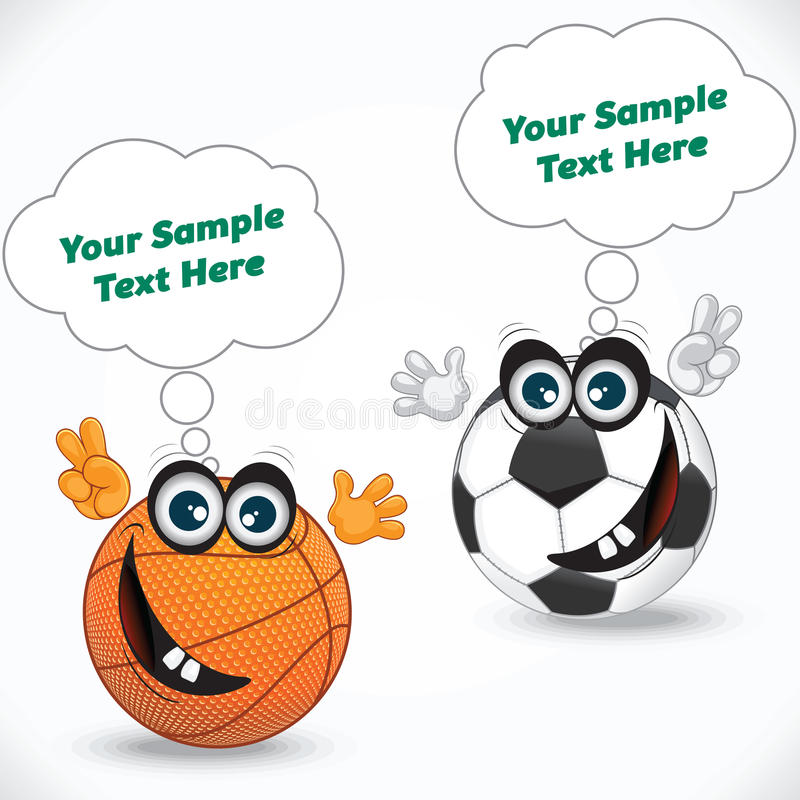 Σφαίρα πετοσφαίρισης κινούμενων σχεδίων και σφαίρα ποδοσφαίρου ελεύθερη απεικόνιση δικαιώματος