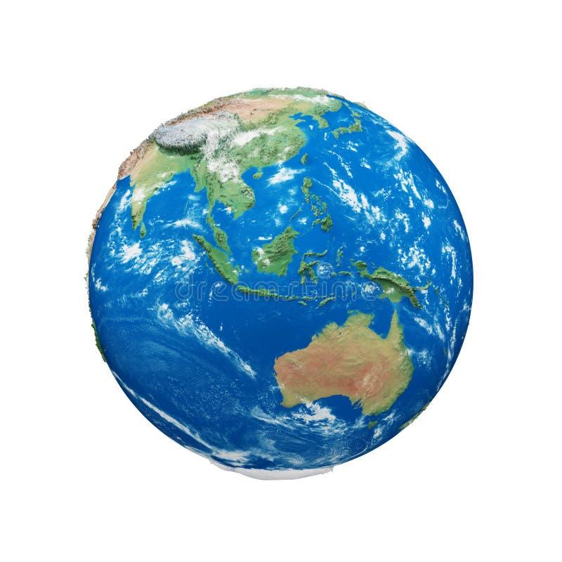 Σφαίρα πλανήτη Γη που απομονώνεται στο άσπρο υπόβαθρο Μπλε και πράσινος ρεαλιστικός κόσμος Εορτασμός γήινης ημέρας ελεύθερη απεικόνιση δικαιώματος
