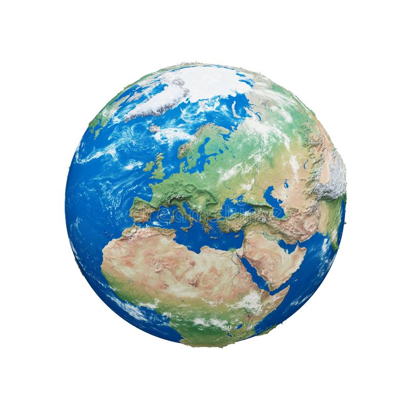 Σφαίρα πλανήτη Γη που απομονώνεται στο άσπρο υπόβαθρο Μπλε και πράσινος ρεαλιστικός κόσμος Εορτασμός γήινης ημέρας διανυσματική απεικόνιση