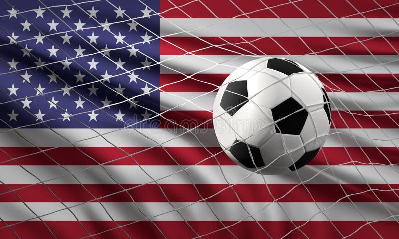 Σφαίρα ποδοσφαίρου ποδοσφαίρου και σημαία των WI των Ηνωμένων Πολιτειών της Αμερικής ελεύθερη απεικόνιση δικαιώματος