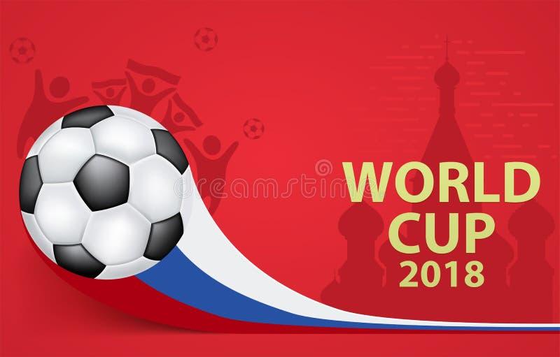 Σφαίρα ποδοσφαίρου με τη ρωσική σημαία στο κόκκινο υπόβαθρο διανυσματική απεικόνιση