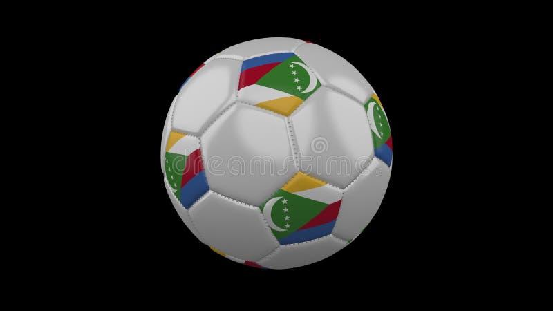 Σφαίρα ποδοσφαίρου με τη σημαία Κομόρες, τρισδιάστατη απόδοση απεικόνιση αποθεμάτων