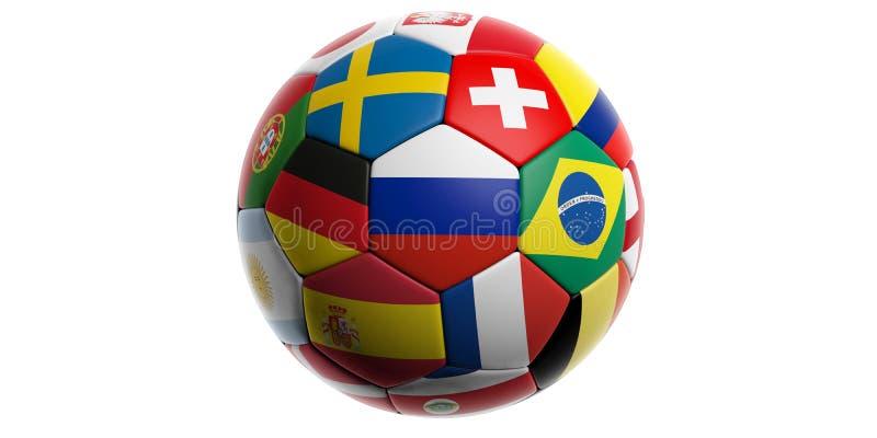 Σφαίρα ποδοσφαίρου ποδοσφαίρου με τις παγκόσμιες σημαίες που απομονώνονται στο λευκό ελεύθερη απεικόνιση δικαιώματος