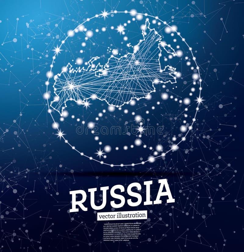 Σφαίρα ποδοσφαίρου με το χάρτη της Ρωσίας σε ένα μπλε υπόβαθρο διανυσματική απεικόνιση