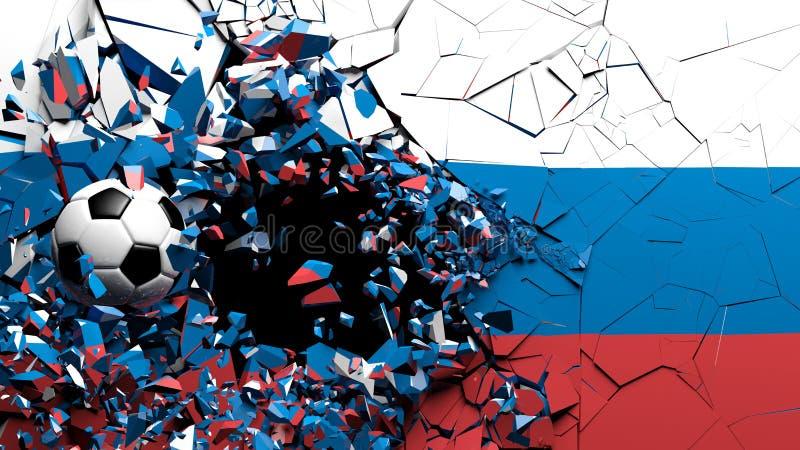 Σφαίρα ποδοσφαίρου ποδοσφαίρου που σπάζει αν και τοίχος με τη σημαία της Ρωσίας τρισδιάστατη απεικόνιση απεικόνιση αποθεμάτων