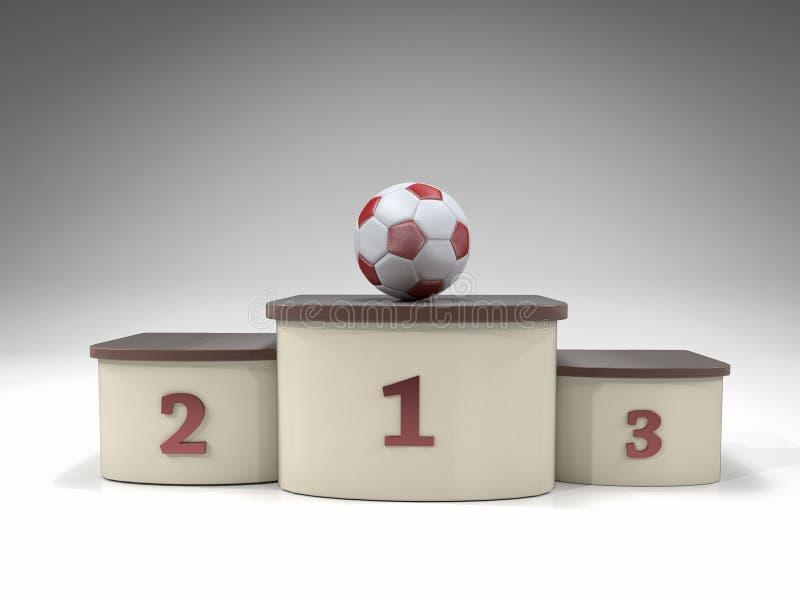Σφαίρα ποδοσφαίρου στην πρώτη εξέδρα θέσεων διανυσματική απεικόνιση