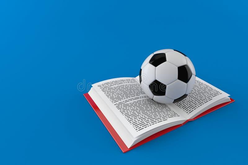 Σφαίρα ποδοσφαίρου στο ανοικτό βιβλίο διανυσματική απεικόνιση