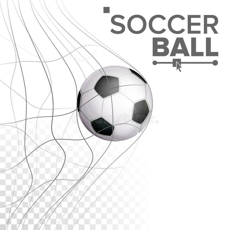 Σφαίρα ποδοσφαίρου στο διάνυσμα δικτύου Χτύπημα του στόχου Αθλητική αφίσα, έμβλημα, στοιχείο σχεδίου φυλλάδιων Απομονωμένος σε δι διανυσματική απεικόνιση