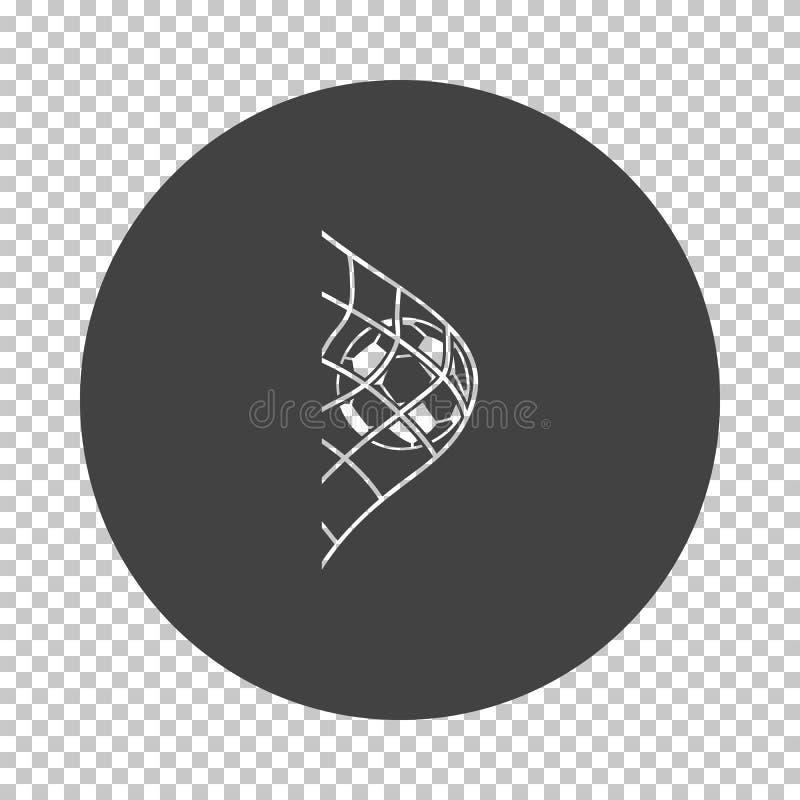 Σφαίρα ποδοσφαίρου στο καθαρό εικονίδιο πυλών ελεύθερη απεικόνιση δικαιώματος