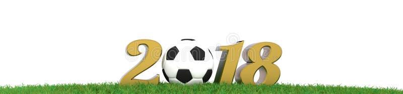 Σφαίρα ποδοσφαίρου στο πανόραμα χλόης, τρισδιάστατη απόδοση απεικόνιση αποθεμάτων