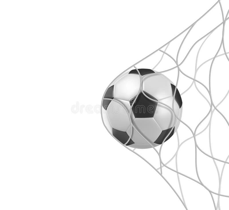 Σφαίρα ποδοσφαίρου ποδοσφαίρου στο στόχο καθαρό που απομονώνει στο λευκό διανυσματική απεικόνιση
