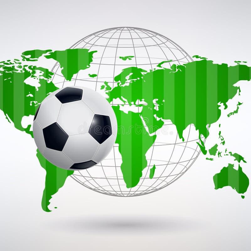 Σφαίρα ποδοσφαίρου στο υπόβαθρο του παγκόσμιου χάρτη ελεύθερη απεικόνιση δικαιώματος
