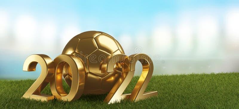 σφαίρα ποδοσφαίρου του 2022 χρυσή με την τολμηρή τρισδιάστατος-απεικόνιση επιστολών διανυσματική απεικόνιση