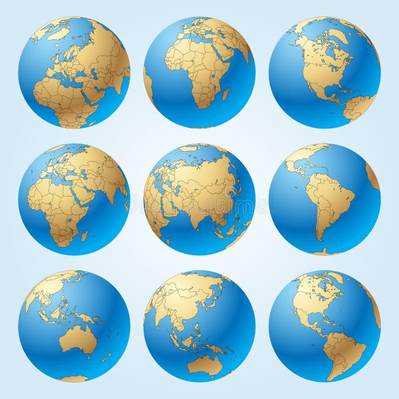 Σφαίρα που τίθεται με τα σύνορα των χωρών ελεύθερη απεικόνιση δικαιώματος