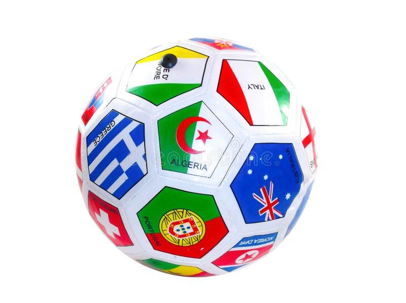 Σφαίρα ποδοσφαίρου με τις σημαίες στοκ εικόνα