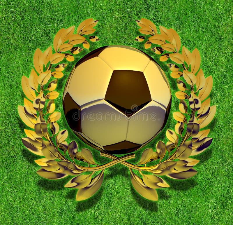 Σφαίρα ποδοσφαίρου ποδοσφαίρου στο χρυσό στεφάνι δαφνών διανυσματική απεικόνιση