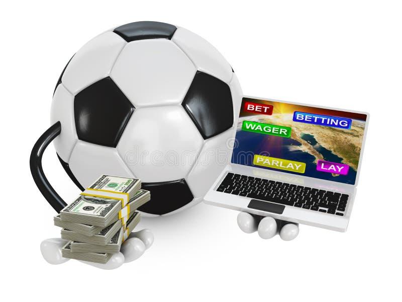 Σφαίρα ποδοσφαίρου σε ένα lap-top απεικόνιση αποθεμάτων