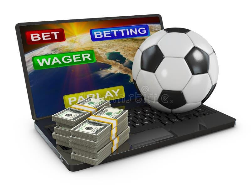 Σφαίρα ποδοσφαίρου σε ένα lap-top διανυσματική απεικόνιση