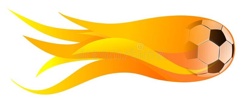 Σφαίρα ποδοσφαίρου στην πυρκαγιά ελεύθερη απεικόνιση δικαιώματος