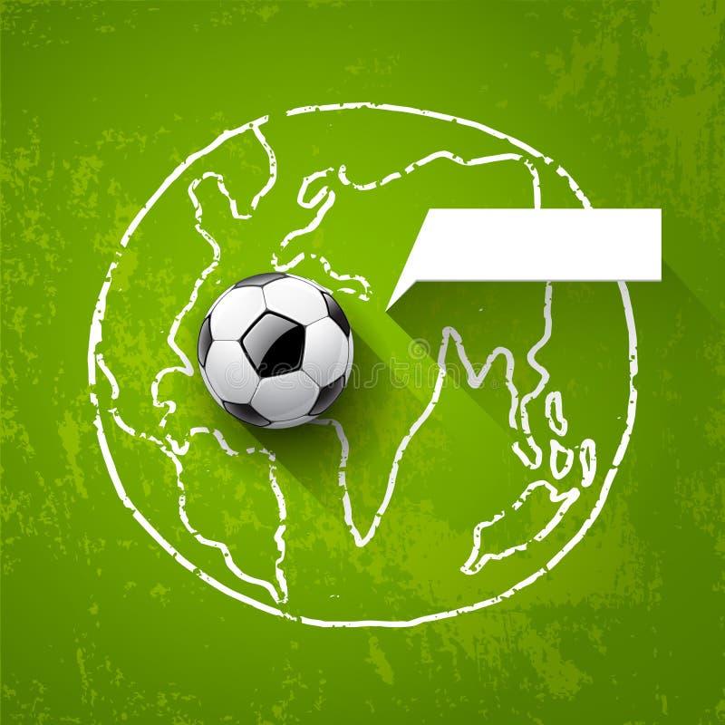 Σφαίρα ποδοσφαίρου στο παγκόσμιο σχέδιο χαρτών απεικόνιση αποθεμάτων