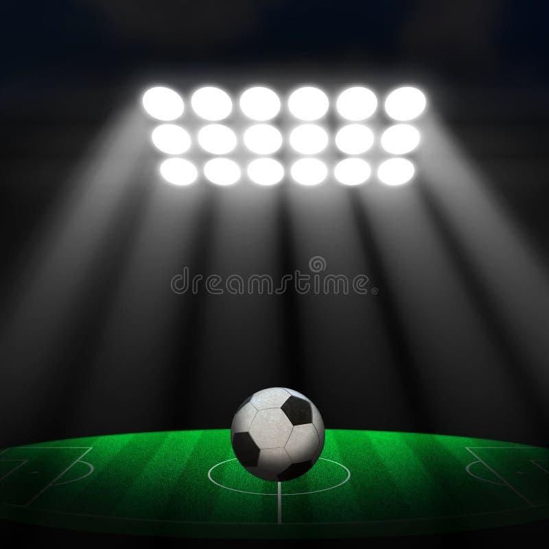 Σφαίρα ποδοσφαίρου στο πράσινο στάδιο στοκ φωτογραφία με δικαίωμα ελεύθερης χρήσης