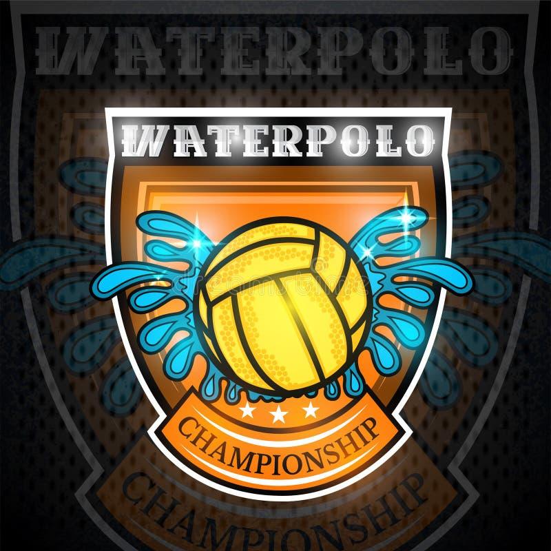 Σφαίρα πόλο νερού μεταξύ του παφλασμού νερού στο κέντρο της ασπίδας Διανυσματικό αθλητικό λογότυπο στον πίνακα για οποιαδήποτε ομ απεικόνιση αποθεμάτων