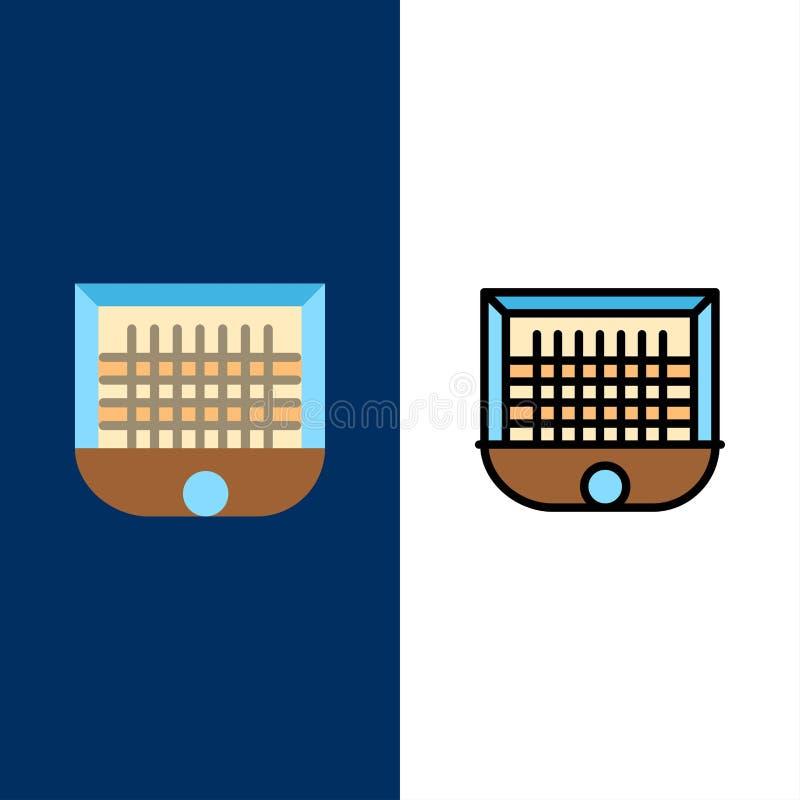 Σφαίρα, πύλη, Goalpost, δίκτυο, εικονίδια ποδοσφαίρου Επίπεδος και γραμμή γέμισε το καθορισμένο διανυσματικό μπλε υπόβαθρο εικονι διανυσματική απεικόνιση