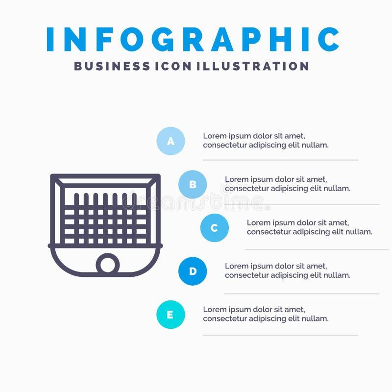 Σφαίρα, πύλη, Goalpost, δίκτυο, εικονίδιο γραμμών ποδοσφαίρου με το υπόβαθρο infographics παρουσίασης 5 βημάτων διανυσματική απεικόνιση