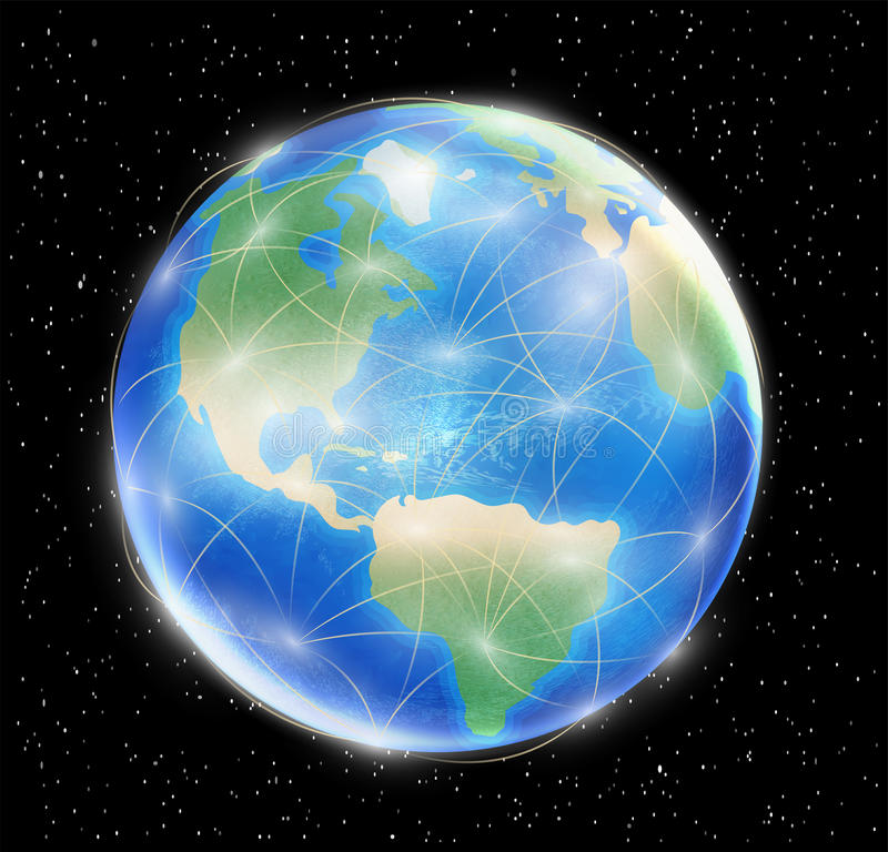 Σφαίρα πλανήτη Γη με τη γραμμή δικτύων που συνδέεται ελεύθερη απεικόνιση δικαιώματος