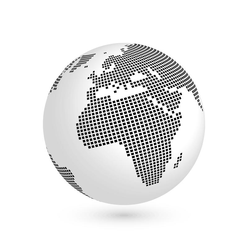 Σφαίρα πλανήτη Γη με το μαύρο τακτοποιημένο χάρτη των ηπείρων Αφρική και Ευρώπη τρισδιάστατη διανυσματική απεικόνιση με τη σκιά π απεικόνιση αποθεμάτων