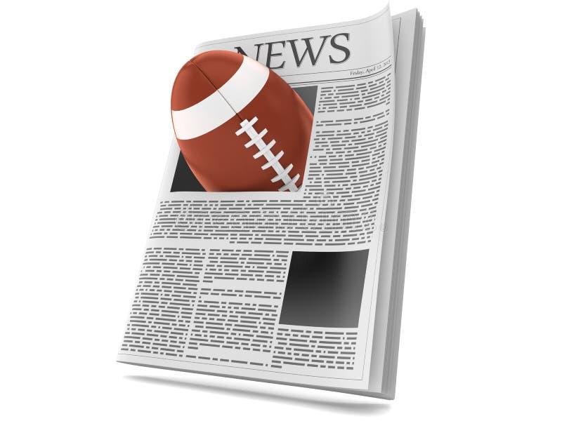 Σφαίρα ράγκμπι μέσα στην εφημερίδα διανυσματική απεικόνιση