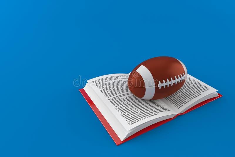 Σφαίρα ράγκμπι στο ανοικτό βιβλίο ελεύθερη απεικόνιση δικαιώματος
